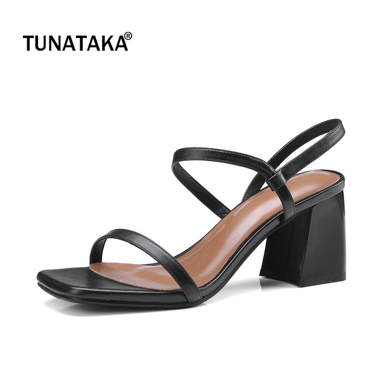 Genuine Leather Comfort Square Heel Open Toe Woman Sandals Fashion Slip On Dress Shoes Woman Black Beige