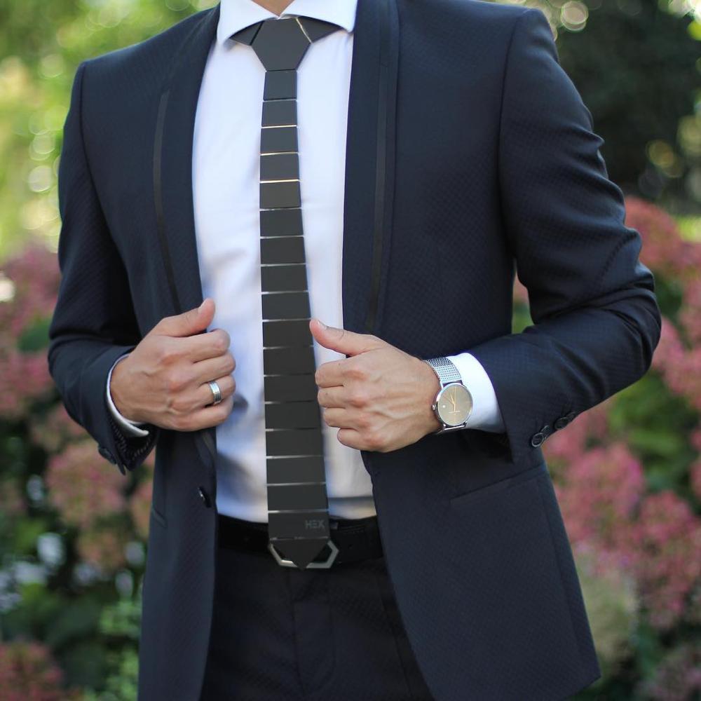 GEOMETIE Handmade Geometric Shape Wide Space Stripe Neck Ties Black Matt