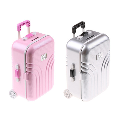 For BFor For Dolls Travel Suitcase Pink Silver Suitcase For 18 inch Doll Best Gift Doll Accessories