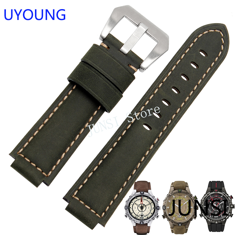 UYOUNG Watchband For Timex T49859|T2N720|T2p141|T2n722|723|738|739 Strap Quality Genuine Leather Watch Band