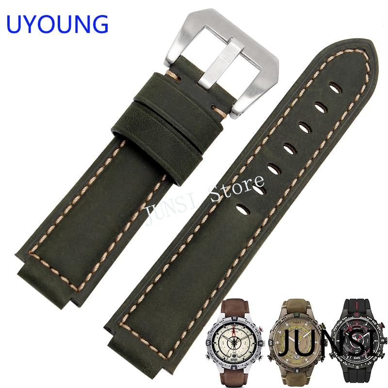 UYOUNG de la venda de reloj para Timex T49859 | T2N720 | T2p141 | T2n722 | 723 | 738 | 739 | correa de calidad de banda de reloj de cuero genuino
