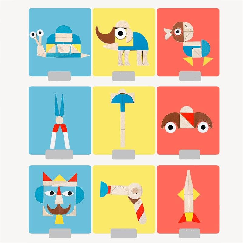 Montessori jouets formes drôles thème blocs de construction juguetes Montessori matériaux éducatifs en bois jouets pour enfants oyuncak - 4