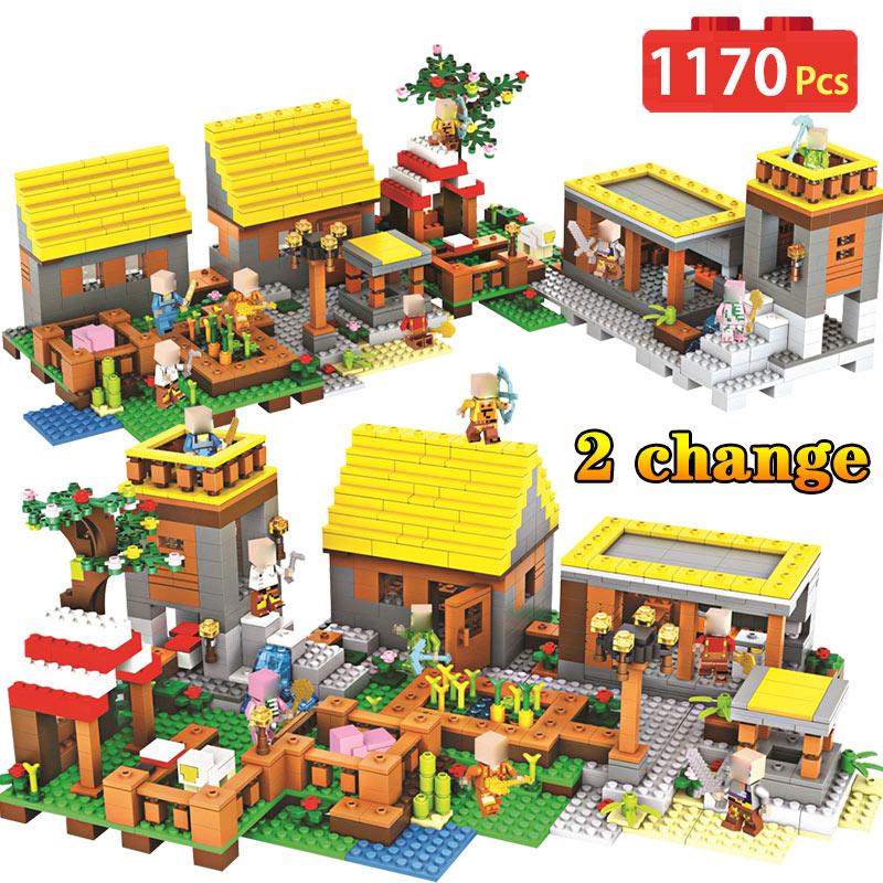 1170PCS Blocks Farm Toys Compatible LegoINGLYS Minecrafted Village Castle Village Series DIY Guard Educational Toys For Children наушники bbk ep 1200s вкладыши синий проводные