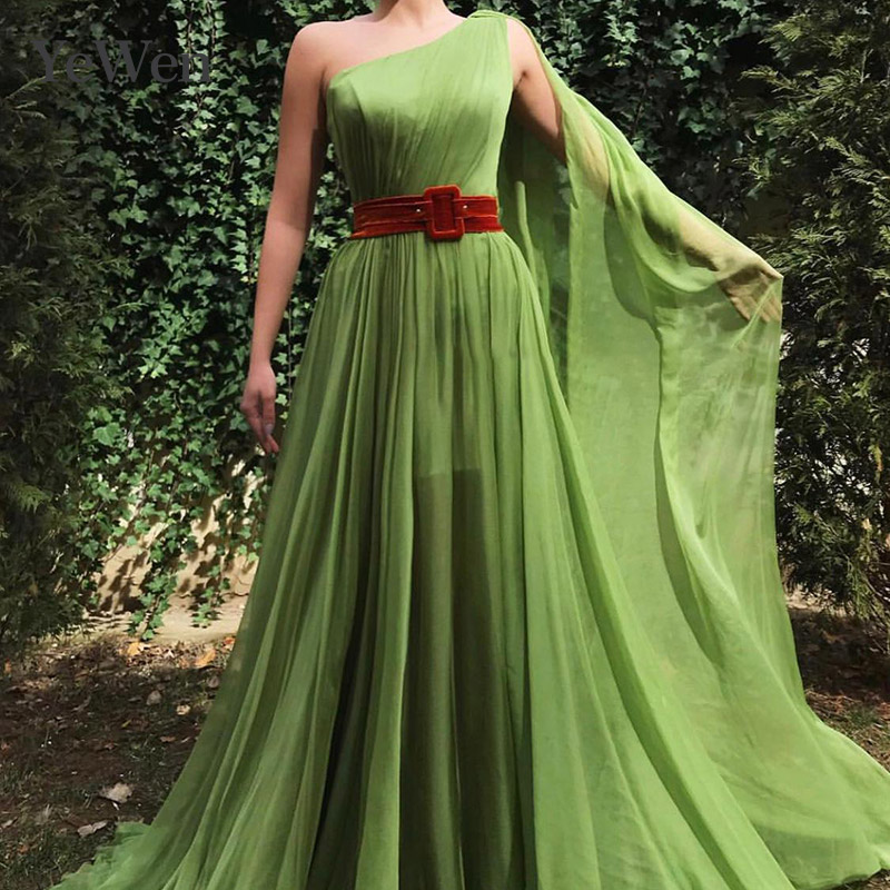 2019 Green Robe De Soiree   Evening     Dress   Sexy Fashion One Shoulder Special Occasion   Dresses   Formal Party   Evening     Dress   Arabic
