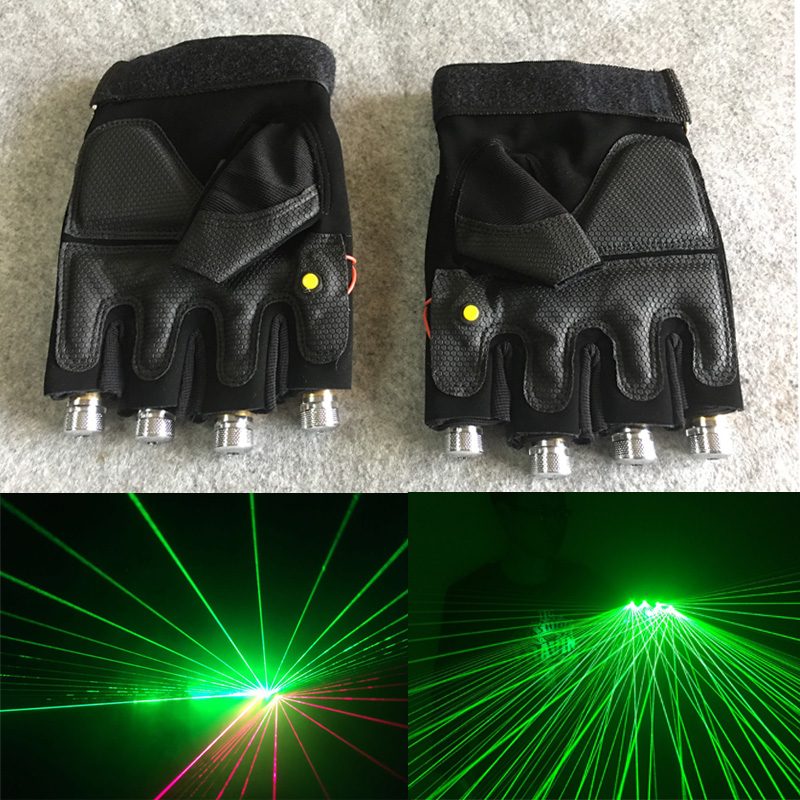 Novelty LED Laser Gloves Green Red Purple Lasers With Battery Dance Show Finger Gloves Glow Props For Disco Party Stage Lighting