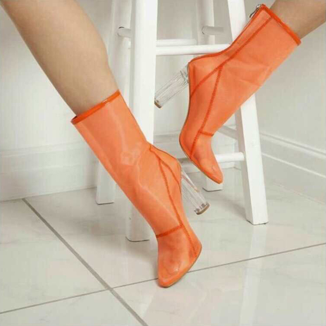 Fashion Week Runway Boots Clear Perspex Heel Mesh Ankle Boots Transparent  Shoes Summer Pointed Toe High Heel Clear Woman Booties