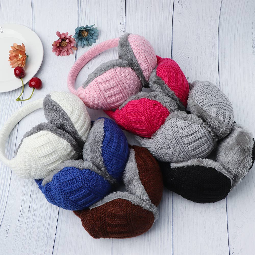1 Pcs Unisex Removable Washable Ear Protectors Accessories Knitted Earmuffs Winter Outdoor Warm Ear Cover Furry Earmuffs