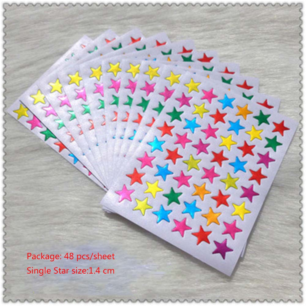 10Pcs/Bag Child Gilding Reward Flash Sticker Mother Teacher Praise Label Award Five-pointed Star Sticker School Office Supply