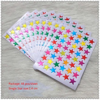10Pcs/Bag Child Gilding Reward Flash Sticker Mother Teacher Praise Label Award Five-pointed Star Sticker School Office Supply image