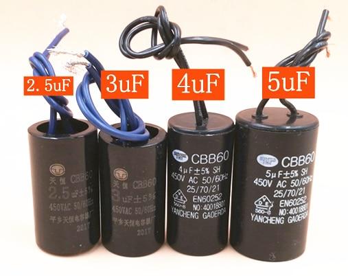 1pcs CBB60 450V 1uf 1.5uf 1.8uf 2uf 2.5uf 3uf 3.5uf 4.5uf 7uf 9uf 11uf 13uf Capacitor AC 50Hz/60Hz motor Starting capacitor1pcs CBB60 450V 1uf 1.5uf 1.8uf 2uf 2.5uf 3uf 3.5uf 4.5uf 7uf 9uf 11uf 13uf Capacitor AC 50Hz/60Hz motor Starting capacitor