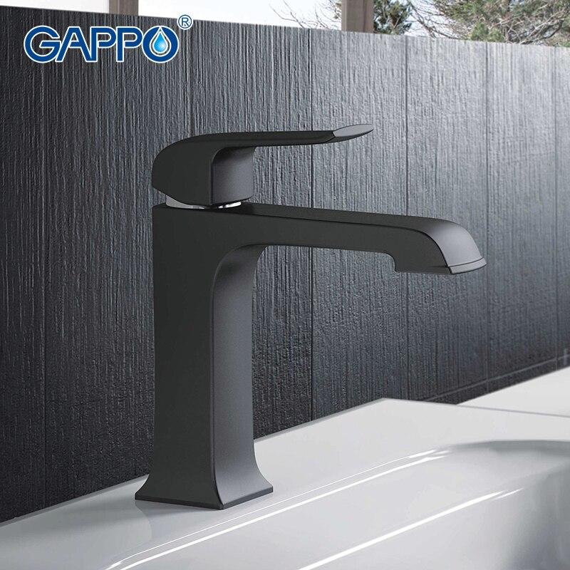 GAPPO Top Quality Preto torneira do banheiro Deck montado Bacia Torneira Da pia mixer cachoeira torneira tap grifo Monocomando GA1050