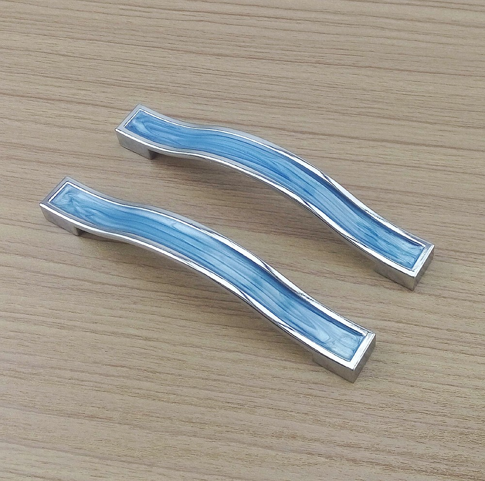 128mm Blue Resin Furniture Hardware Handles Kitchen