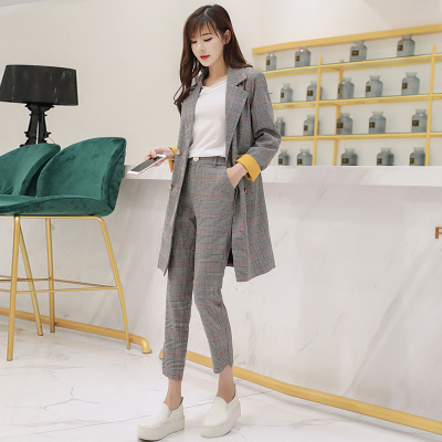 2018 New Autumn And Winter Check Small Suit Jacket Female Fashion Temperament Suit Suit Long Female Professional Suit Fragrant Aroma