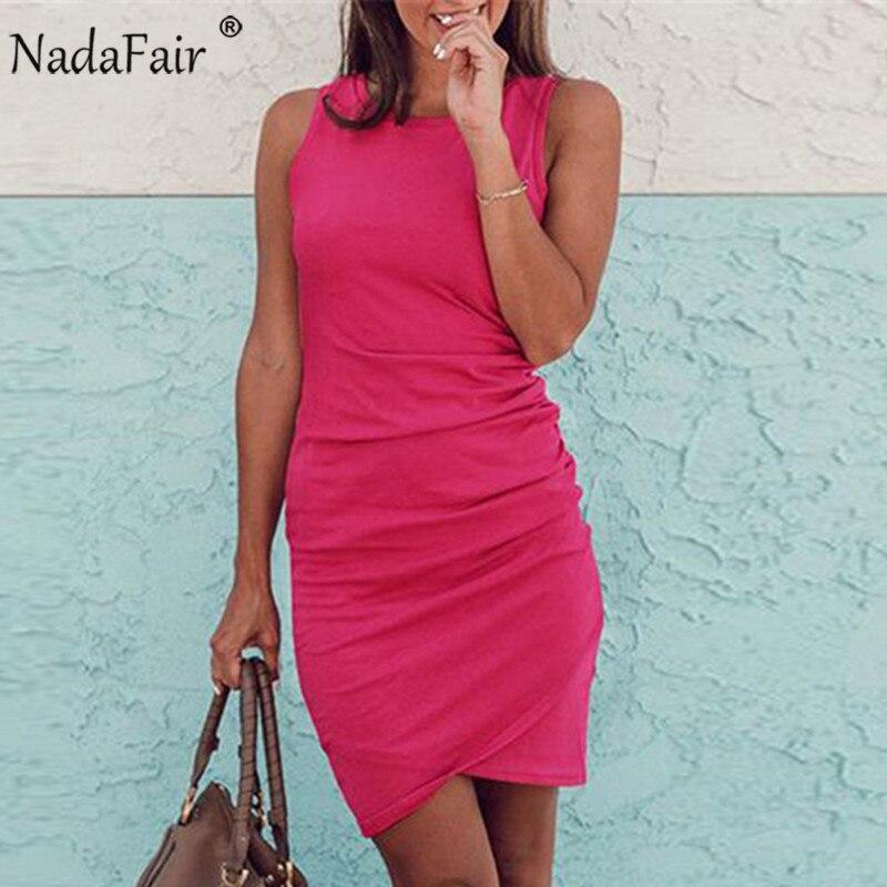 Nadafair nuevo sexy sin mangas o cuello asimétrico vestidos casuales de mujer vestido camiseta Vestido Mujer de vestidos