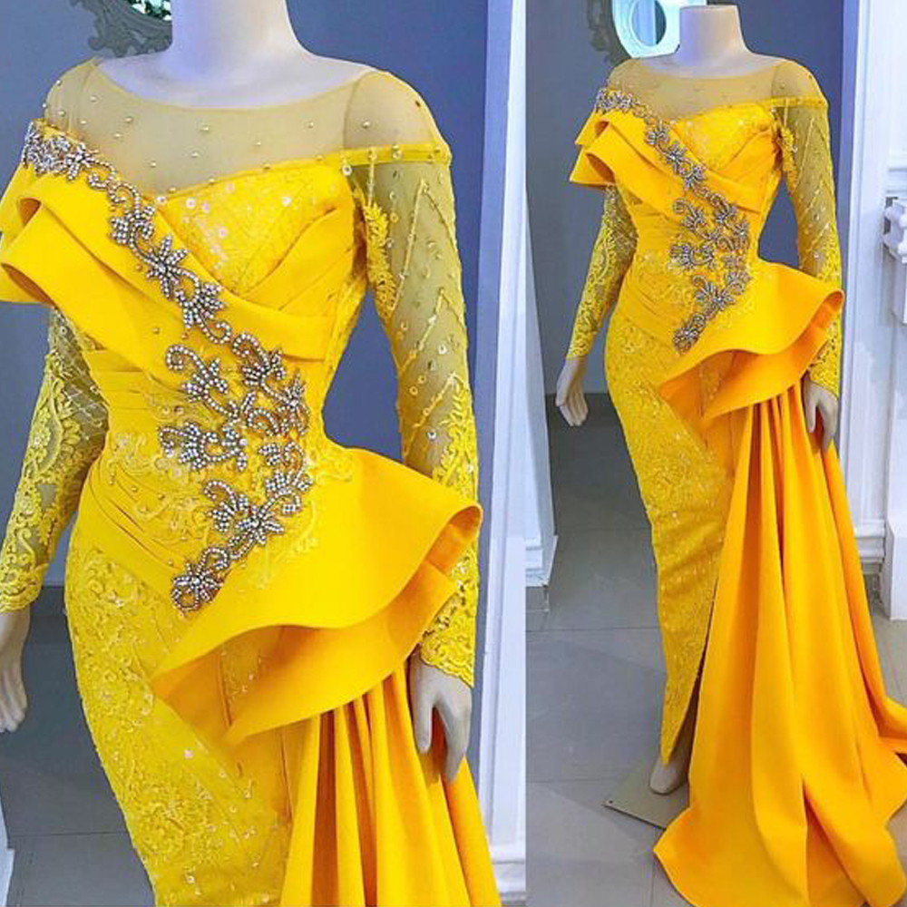 Yellow Prom Dresses 2019 Crew Neckline Lace Beading Pearls Crystal Mermaid Detachable Train Evening Dresses Gowns Women Dress