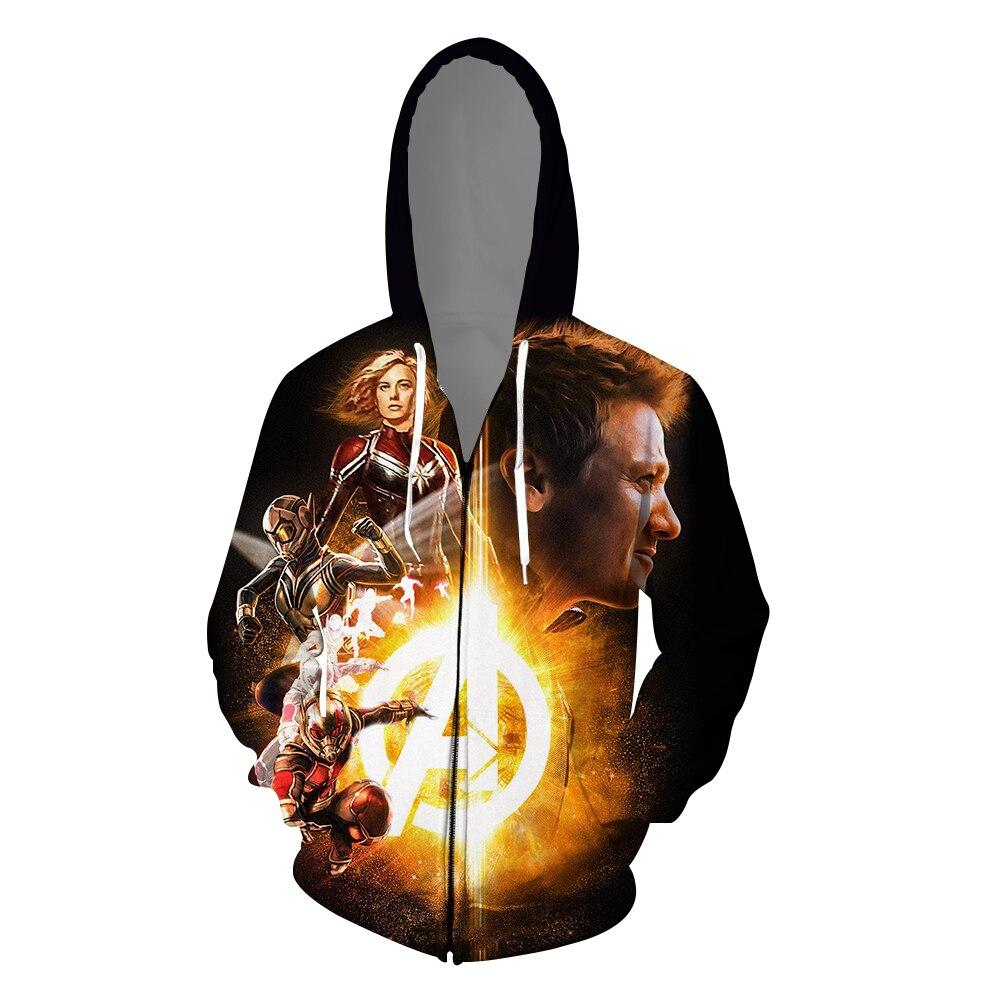 2019 film Captain Americ Sweatshirts zipper Cosplay ange ailes Costume automne hommes et femmes 3D impression veste à capuche vêtements