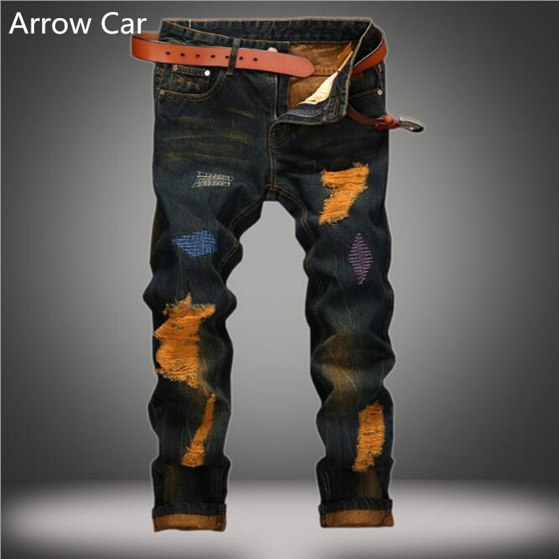 Jeans Mens Hole Europe And The United States Personality To Do The Old Straight Mens Jeans Retro Tide Casual Men Pants