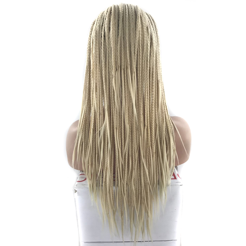 Charisma Blonde Wigs Synthetic Lace Front Wig Braided Box Braids Wig 24 Inch With Baby Hair Braided Wigs For Black Women