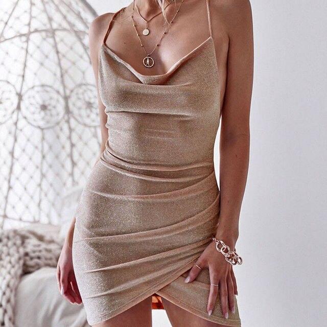 New Women Sequined Bodycon Sparkly Backless Bandage Sleeveless Evening Party Club Mini Dress Sundress 3