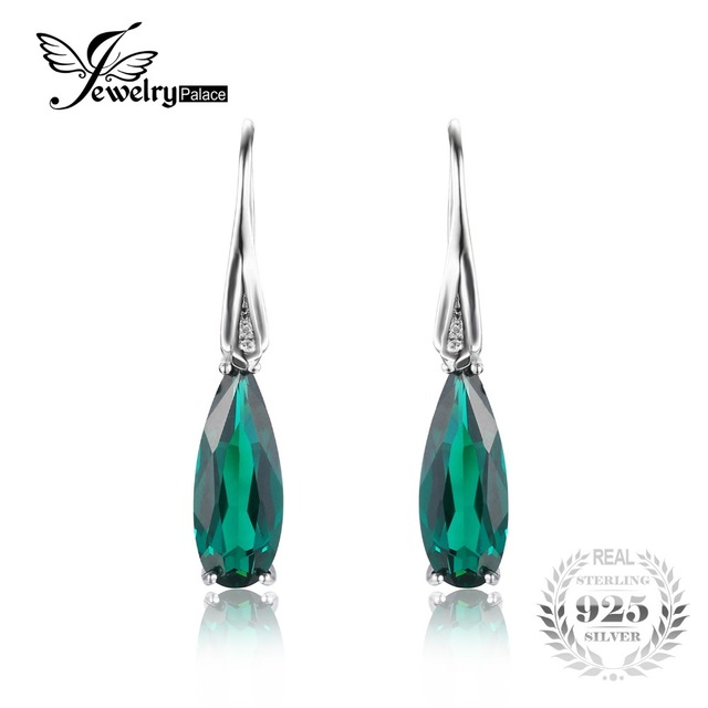 JewelryPalacr 4.8ct Nano Russian Emerald Drop Earrings Dangle For Women Water Drop Cut Solid 925 Sterling Silver Trendy Jewelry