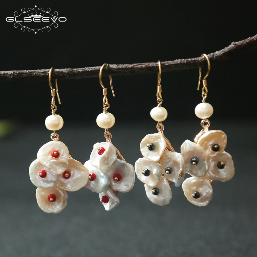 XlentAg Original Designer Natural Baroque Fresh Water White Pearl Dangle Earrings Women Bijoux Luxury Chandelier Earrings GE0459 in Earrings from Jewelry Accessories
