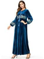 Arabic Dress Embroidery Vintage Dresses Geometric Velvet Tassel Drawstring Design Muslim Arabic Ramadan Clothing Women Dress