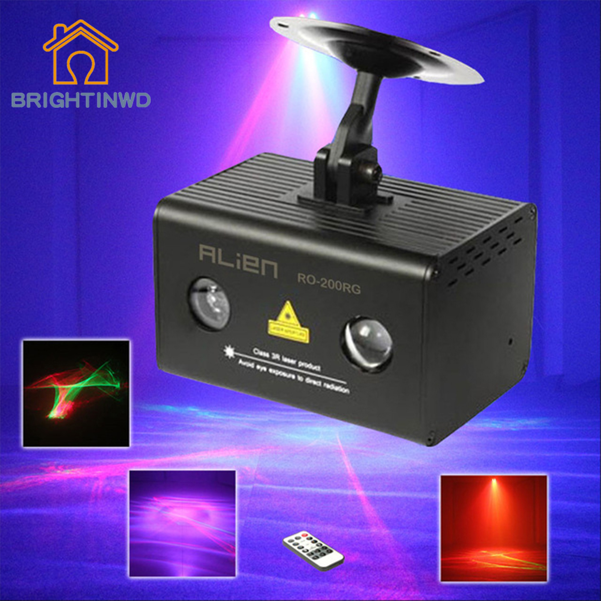 BRIGHTINWD Remote RG Aurora Laser Light Projector Stage Lighting Effect RGB LED Water Wave Party Dance Disco DJ Holiday Lights