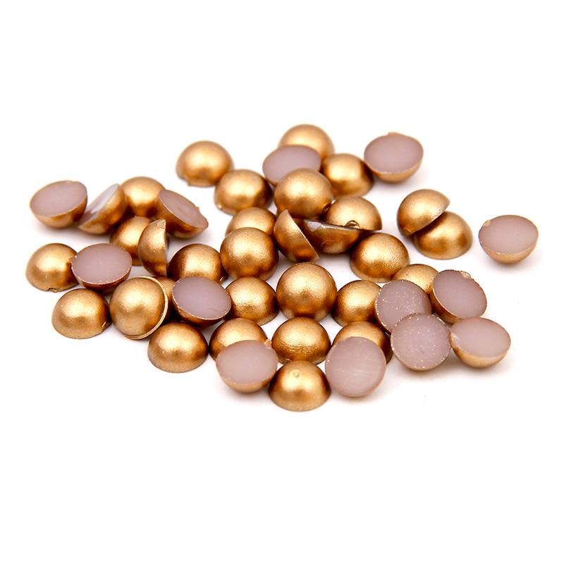 2016 New Matte Gold Half Round Pearls For Nails Art Decoration 1.5mm-12mm Imitation Flatback Beads DIY Jewelry Making Supplies new matte gold half round pearls 1 5mm 12mm imitation machine cut flatback glue on resin beads diy jewelry making nail art phone
