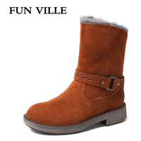 FUN VILLE New Fashion Woman Snow Boots Cow Leather Suede Real Fur Black Camel Color Wool