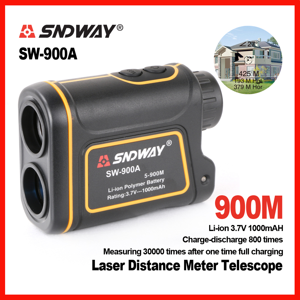 SNDWAY Handheld 900m 1200m 1500m Laser distance meter telescope Golf Hunting Rangefinder Range Finder Monocular 8X Trena maifeng 10x 25mm handheld hunting laser range finder black army green 1 x cr2