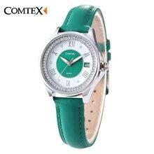 COMTEX Марка Женщины Часы Повседневная Зеленый Кожаный Ремешок Shell Циферблат Аналоговый Дисплей Кварцевые Часы Модные Женские Часы Большие Продажи