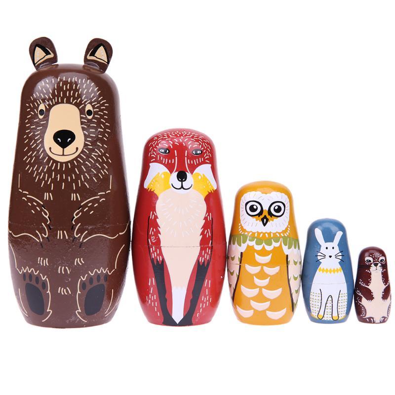 Kids Dolls Toy Bear Ears Penguin Pattern Village Girl Matryoshka Doll Wooden Russian Nesting Dolls Toys Gifts