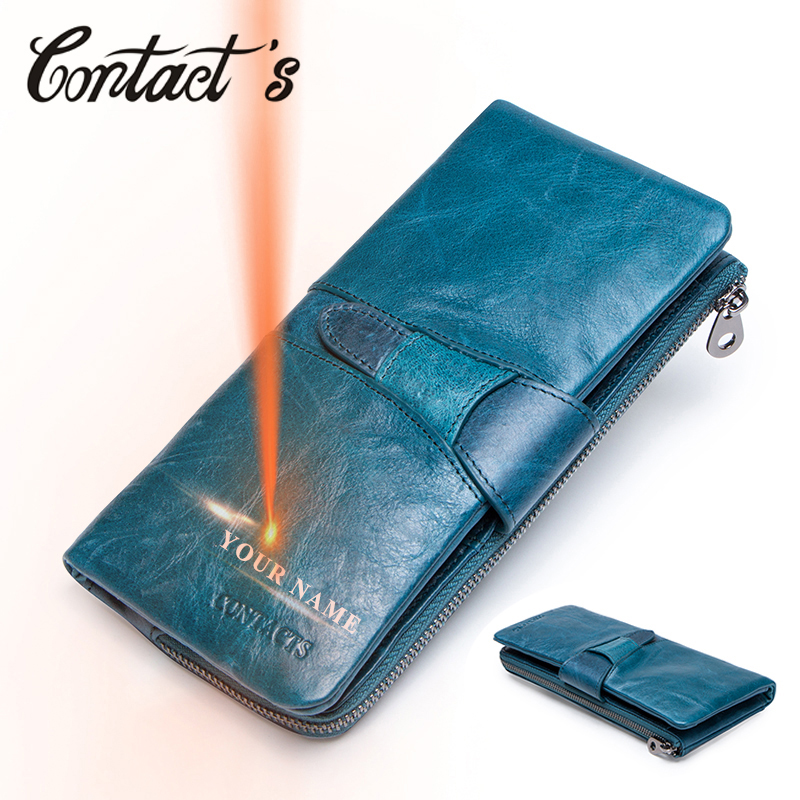 Contact's Genuine Leather Women Wallet Female Coin Purse Zipper Lady Long Wallets Portomonee Luxury Brand With Cellphone Holder