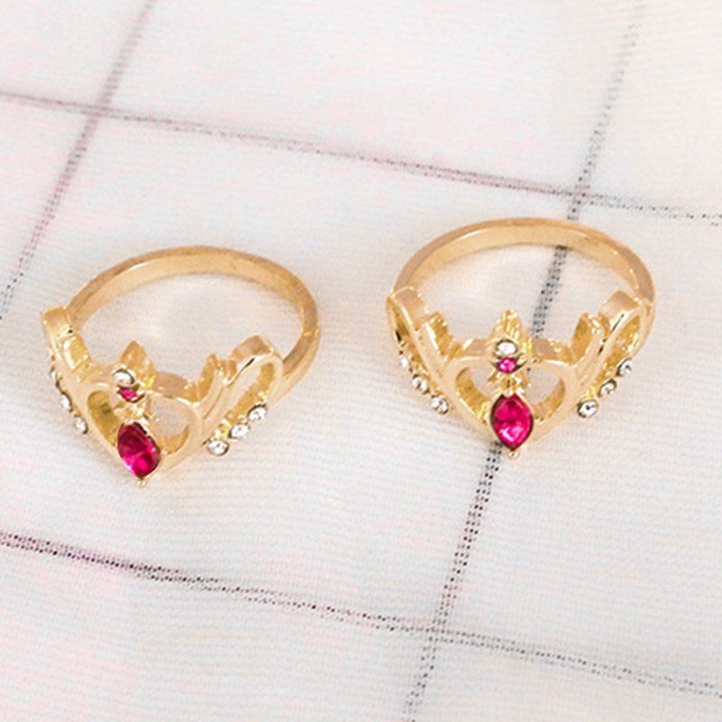 Anime Sailor Moon Ring Crown Hollow Sweet Heart Rings Jewelry Cosplay Prop Accessories