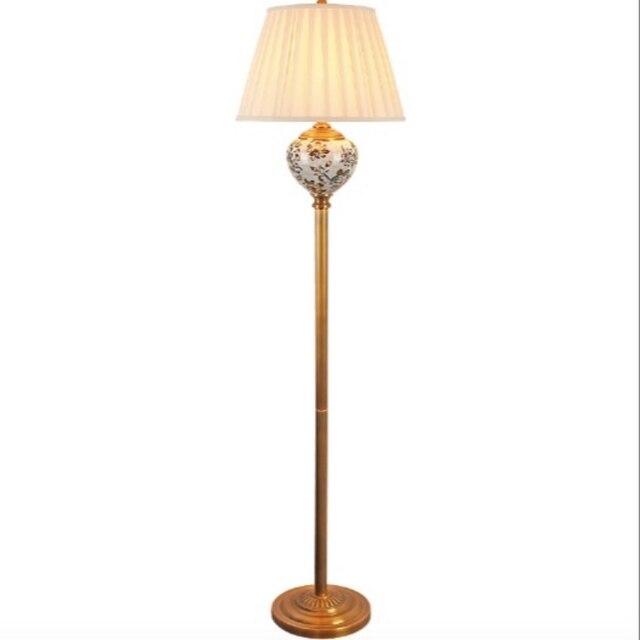 Haut de gamme chinois pays peint à la main en céramique tissu Led E27 lampadaire pour salon chambre étude déco H 160 cm 2181