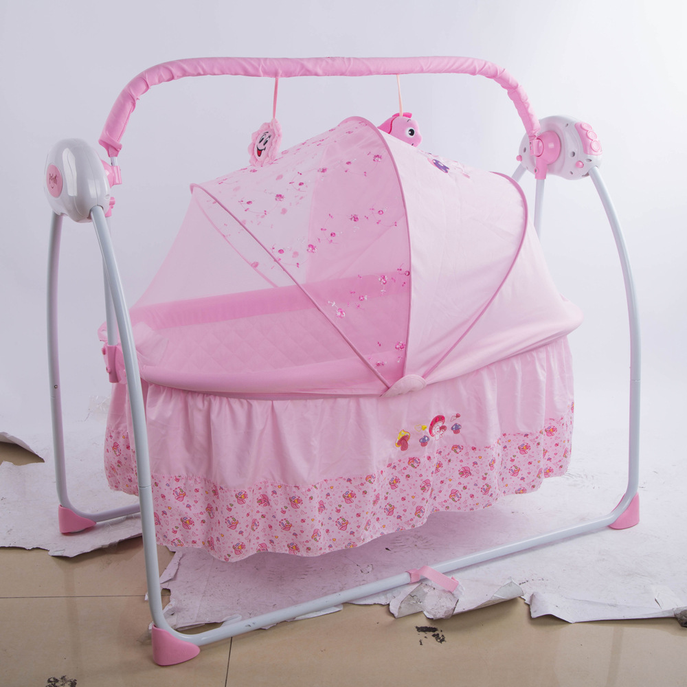 Baby Rocker Bed Multi-function Crib Intelligent Electric Portable Folding Music Cradle Folding Newborn Baby Crib with Netting luxury portable cradle newborn baby cradle multifunctional baby bed play bed with music toy can folding 2in1 crib cotton cot
