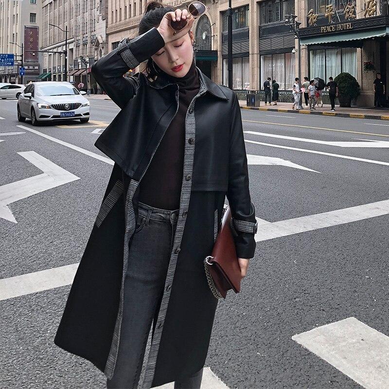Vestes Ayunsue Printemps Automne Noir En Long Femmes Mouton Les Femme Véritable Veste Réel Trench Survêtement Peau De Cuir Wyq2180 Mode Manteaux Pour FFwZrOq
