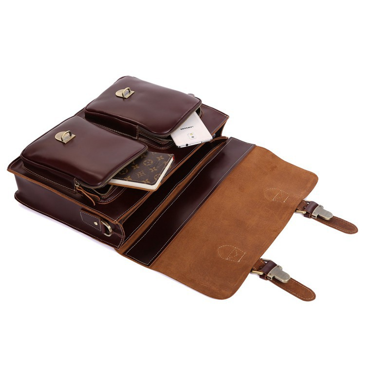 JMD Hot Sale High Quality Vintage Genuine Cowhide Leather Briefcases Designer Mens Laptop Bag 7105X 2 in Briefcases from Luggage Bags
