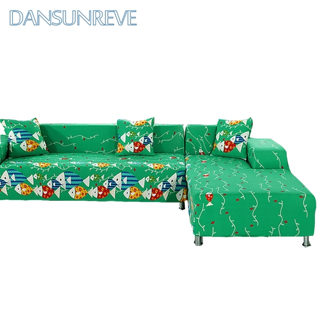 Green L Shape Sofa Covers For Living Room 2pcs Cushion Covers 100 ...