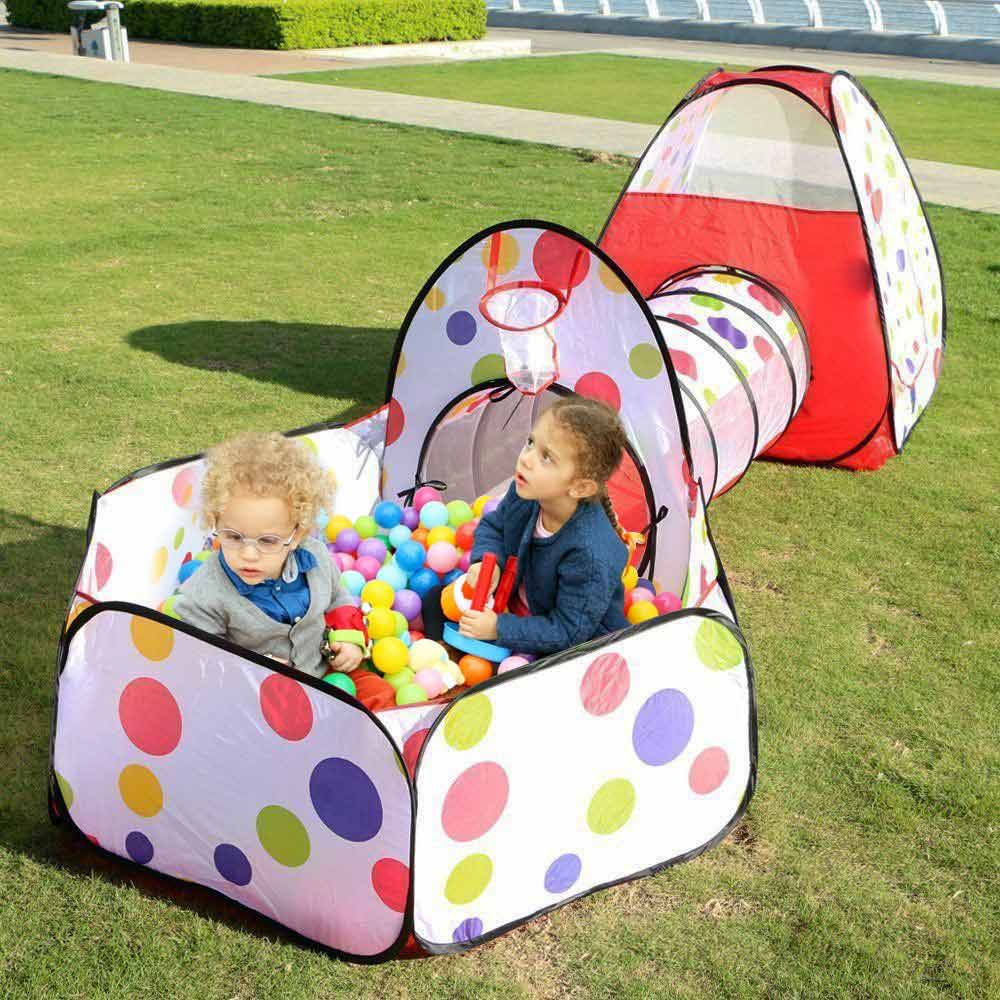 Portable Folding Pop Up Children's Tent With A Tunnel Large Kids Play House Outdoors Baby Ball Pool Pit Boys Toy Tents Wigwam