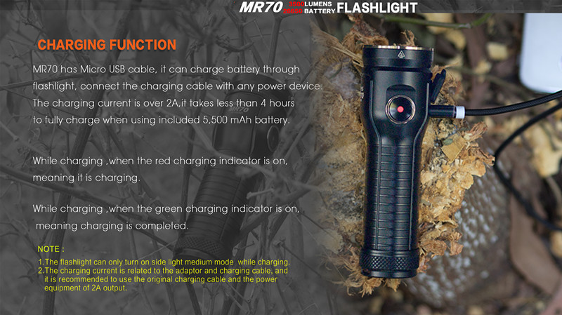 JIGUOOR MR70 Rechargeable Flashlight XHP70.2 CW / XP-G2 NW LED max 3500lm beam throw 248m outdoor torch + 26650 5500mAh battery