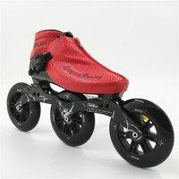 Профессиональный Скорость скейт обувь гонки на коньках Новое прибытие Для мужчин/Для женщин роликов 3 125 мм колеса взрослых/детские ботинки