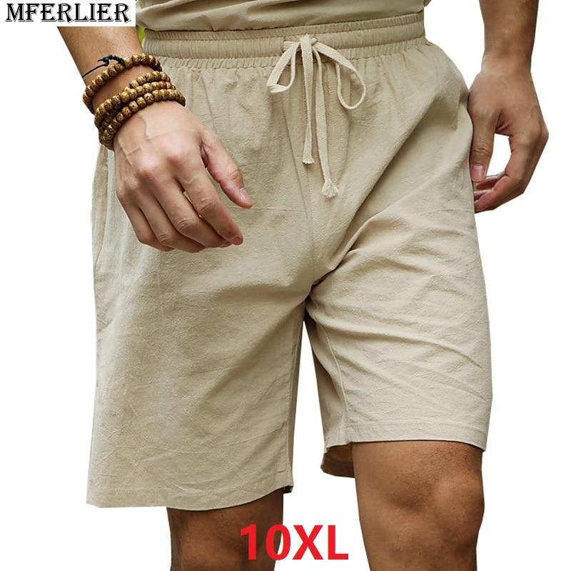 MFERLIER Summer Shorts Men Linen Cotton Plus Big Size 6XL 7XL 8XL 9XL 10XL  Casual Short Pants Vintage 50 Loose Larger Elastic