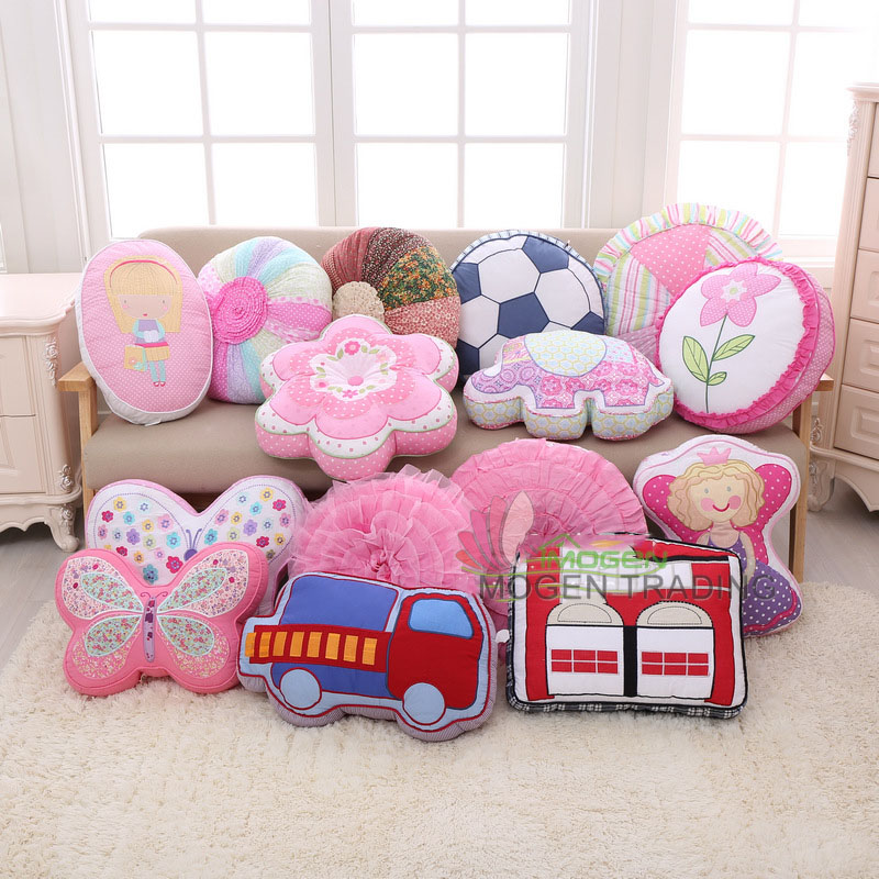 Creative children's cartoon cushion embroidery Cotton quilted hold pillow containing core car pillow sofa cushion kids Gift