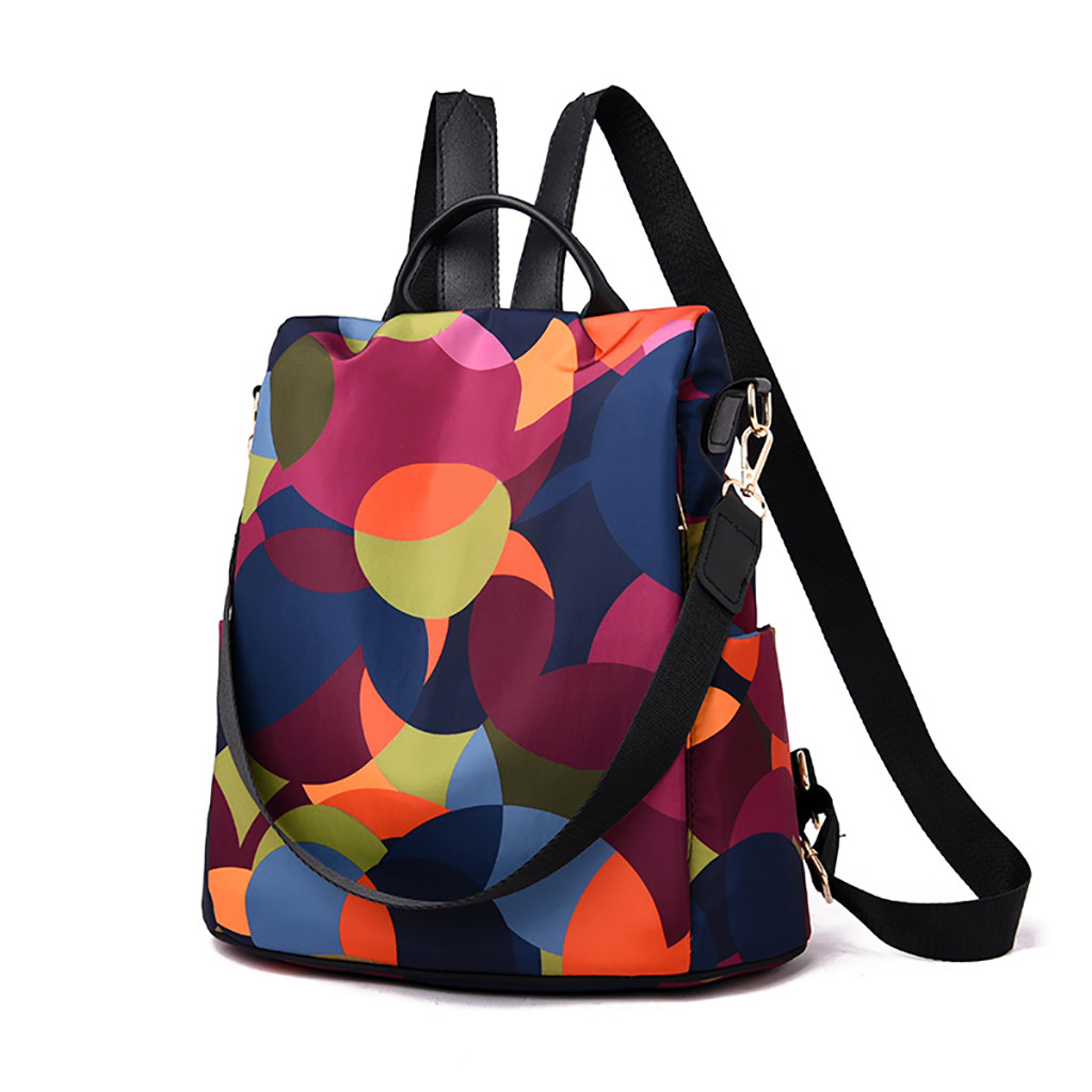 Xiniu Women Wild Travel Backpack Colorful Oxford Cloth Student Bag Backpack Famous Brand PU Leather Bags Zaino Da Donna#35