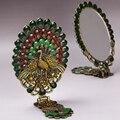 Regalo de la Señora de la Antigüedad Del Pavo Real Pintado Retro de Metal espejo Corte Clásico Cristal espejo Cosmético Plegable mango espejo de La Princesa