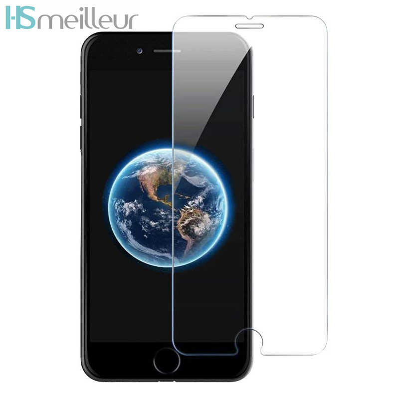 Hsmeilleur screenprotector for iphone xs max xr 강화 유리 보호 필름 for iphone 8 7 6 6 s plus 5 5 s se 5c verre trempe