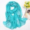 2016 новый мори девушка вышивка женский вышивкой пайетками длинная шифона шелковый шарф all-матч шарф мыс