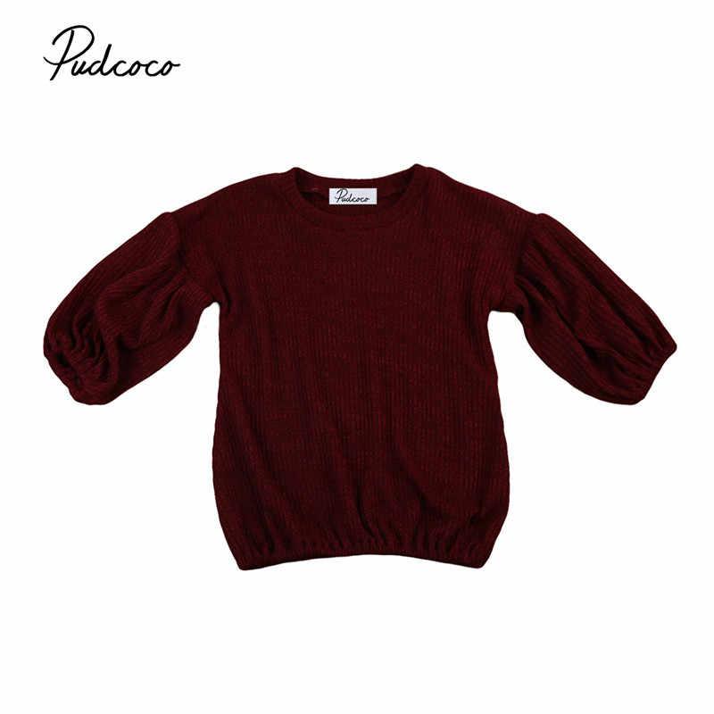 Pudcoco marcas 5 colores jerseys para niñas invierno 2018 nueva ropa de punto para niñas otoño suéter de color sólido para niñas