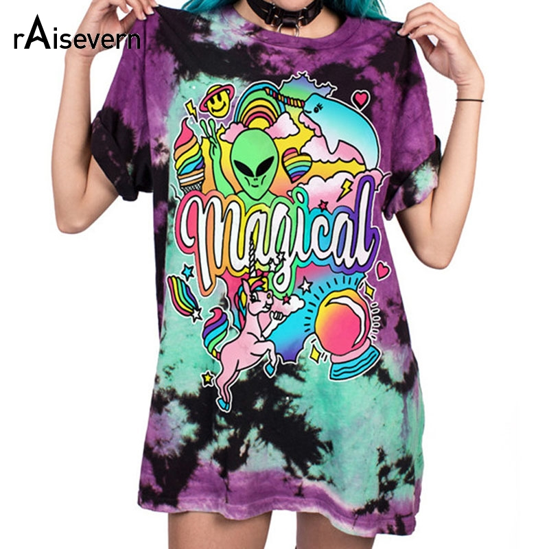 Raisevern Rainbow Horse With Alien Print 3D Funny Design Girl/boy T Shirt O Neck Fashion Tee S-XXXL Big Size 2019 Hot Selling